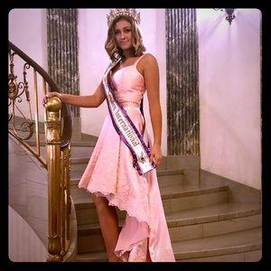 Sherri Hill sweet 2 piece pink high low dress sz 6